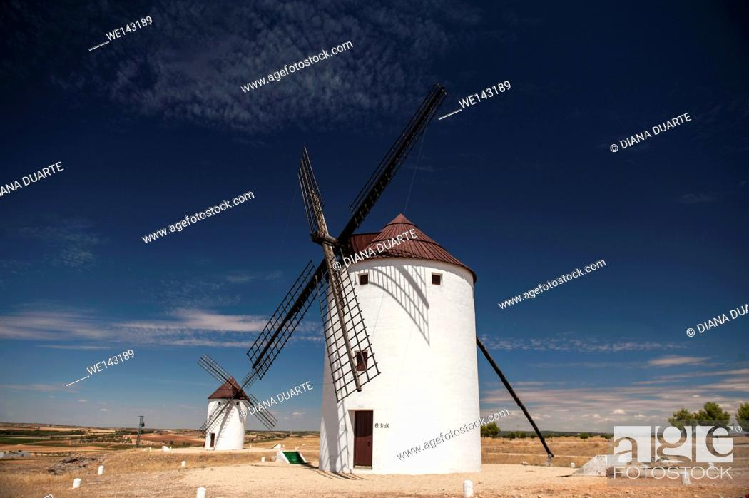 Stock Photo: In this adventure, discover Don Quixote's La Mancha from north to south. The trip begins in Campo de Criptana, at the foot of the famous windmills that scatter.