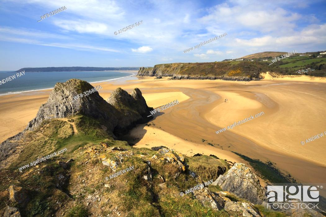 Stock Photo: Three Cliffs Bay on the Gower Peninsula in South Wales captured from the cliffs to the East of the beach.