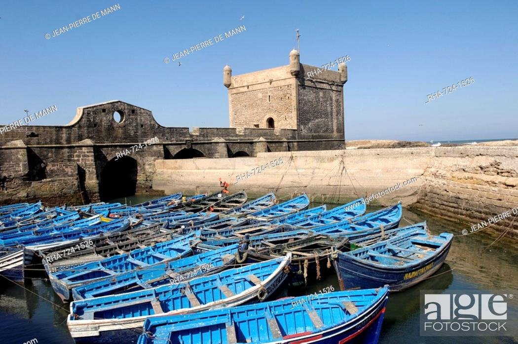 Stock Photo: The Skala of the Port, the old fishing port, Essaouira, historic city of Mogador, Morocco, North Africa, Africa.