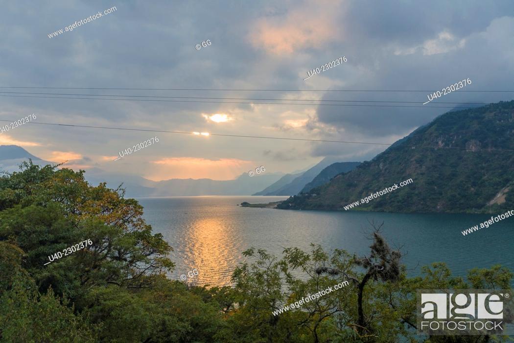 Stock Photo: Guatemala, Lake Atitlan, sunset.