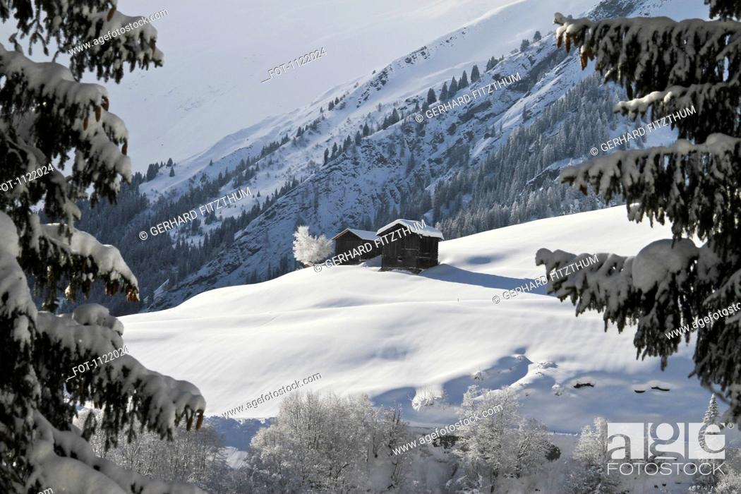 Stock Photo: Two winter chalets by the mountain.
