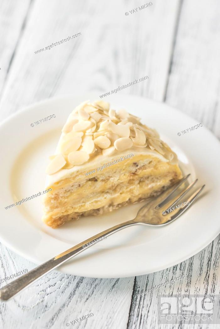 Stock Photo: Portion of egyptian cake on the white plate.