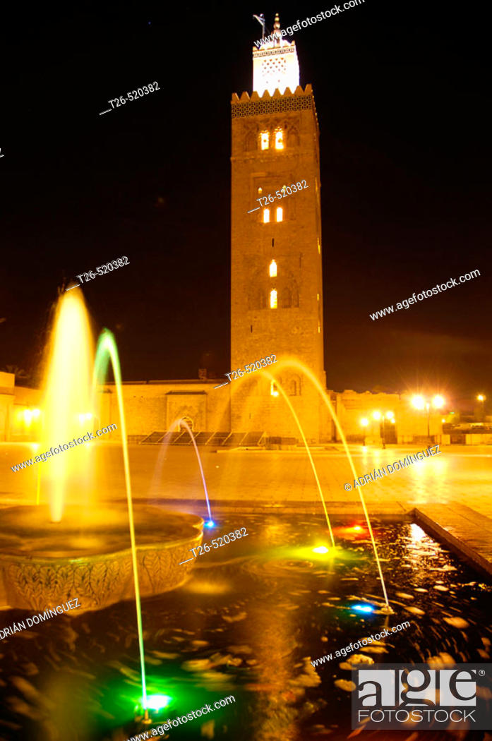 Stock Photo: Koutoubia mosque with fountain and colour lights. Marrakech. Morocco.