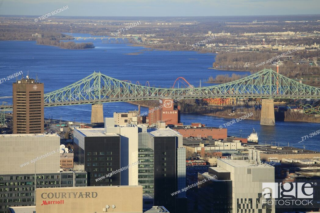 Stock Photo: Canada, Quebec, Montreal, St Lawrence River, Jacques Cartier Bridge,.
