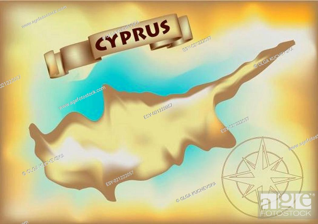 Stock Vector: abstract map of cyprus.