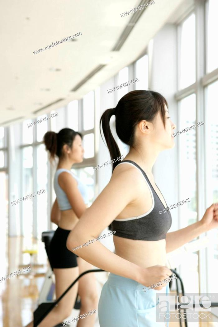 Stock Photo: Two young women exercise on a walker in a well equipped gym.