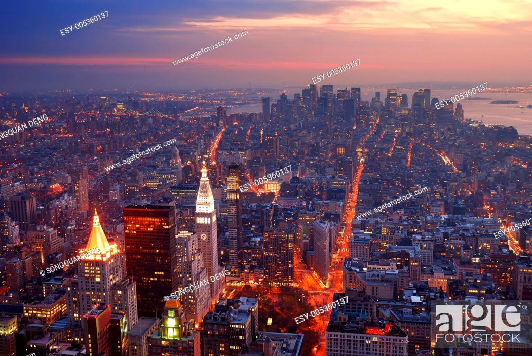 Stock Photo: New York City Manhattan skyline aerial view panorama at sunset.