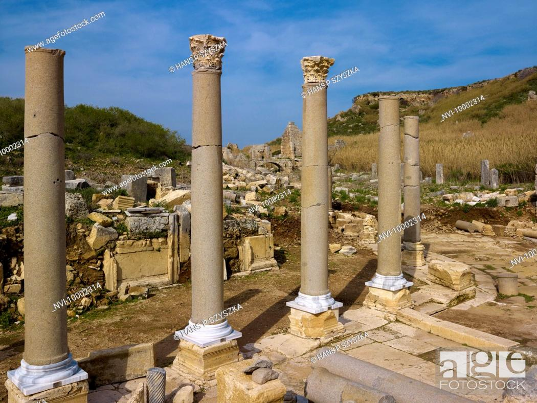 Stock Photo: Columns and temple ruins, ancient city of Perga, Turkey.