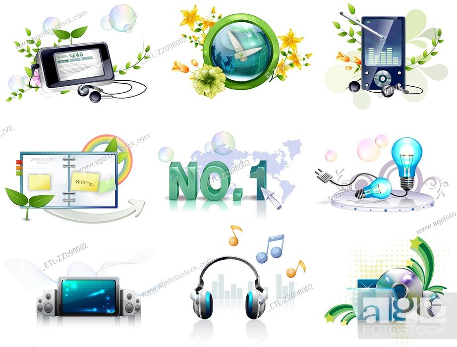 Stock Photo: Electronics gadgets and web icon set.