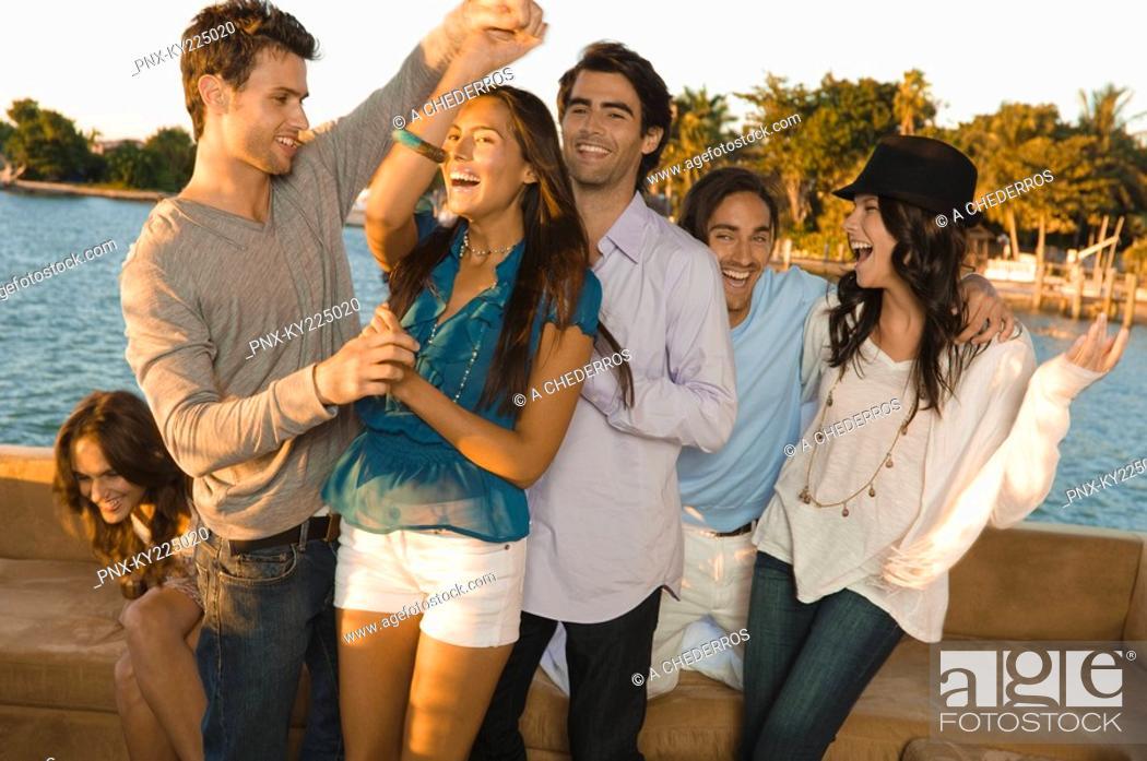 Stock Photo: Friends having fun on vacation.