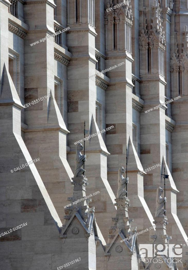 Stock Photo: Neo-Gothic facade decoration of the Hungarian parliament.