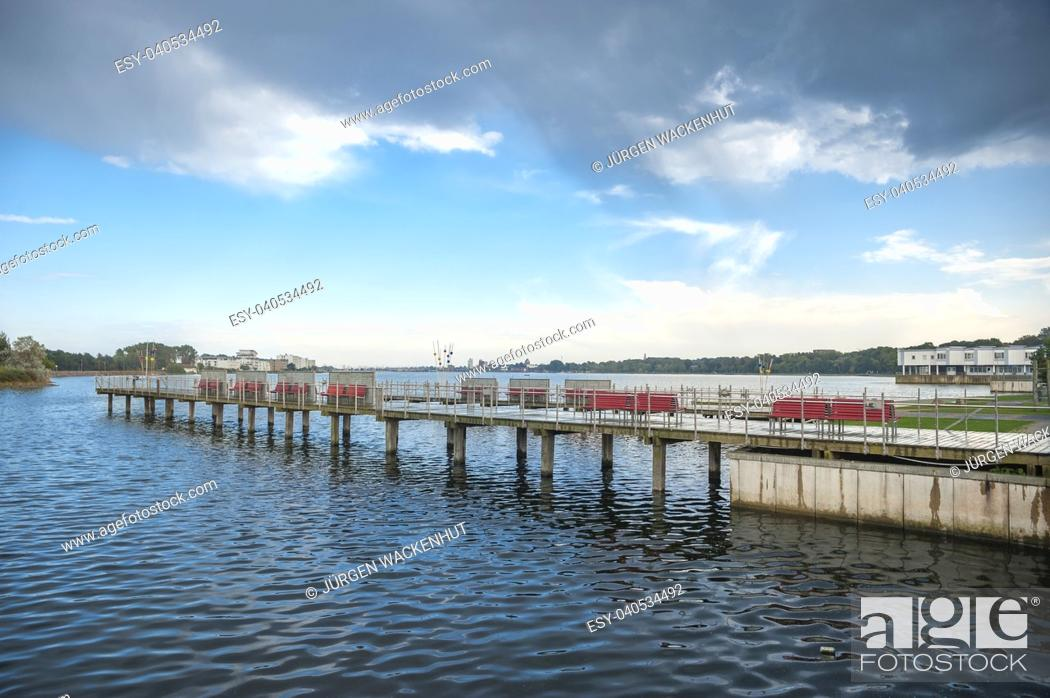 Stock Photo: Footbridge on the inland lake, Heiligenhafen, Baltic Sea, Schleswig-Holstein, Germany, Europe.