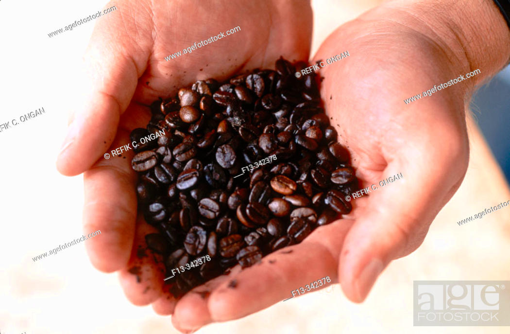 Stock Photo: Coffee in palm.