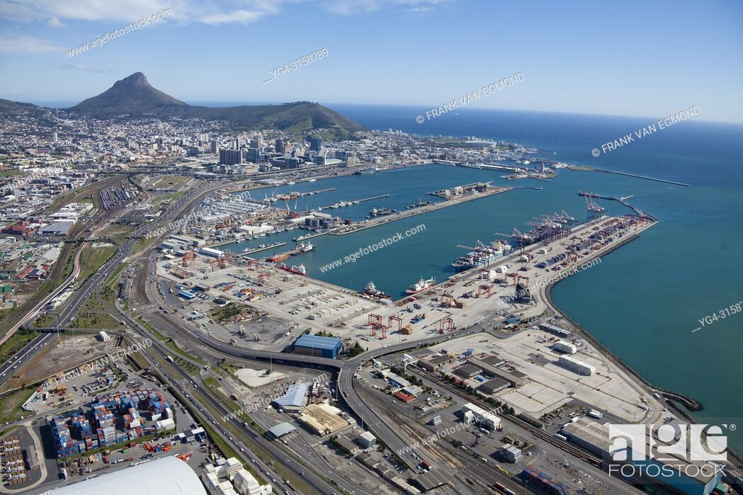 Stock Photo: Port of Cape Town, in the background Signal Hill (right) and Lions Head (left). South Africa.