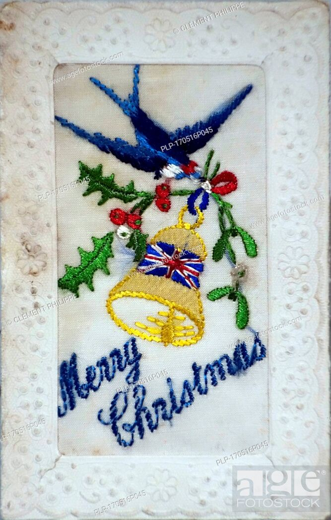 Imagen: Embroidered silk Christmas card with Merry Christmas greetings from the First World War, hand-embroidered in coloured thread.