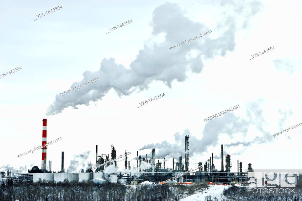 Stock Photo: An oil refinery in Edmonton, Alberta, Canada on a winter day.