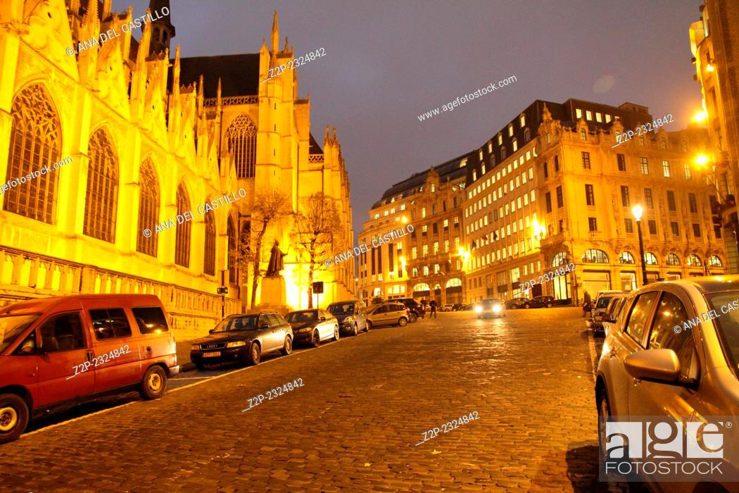 Stock Photo: St. Michael and St. Gudula Cathedral - Brussels.