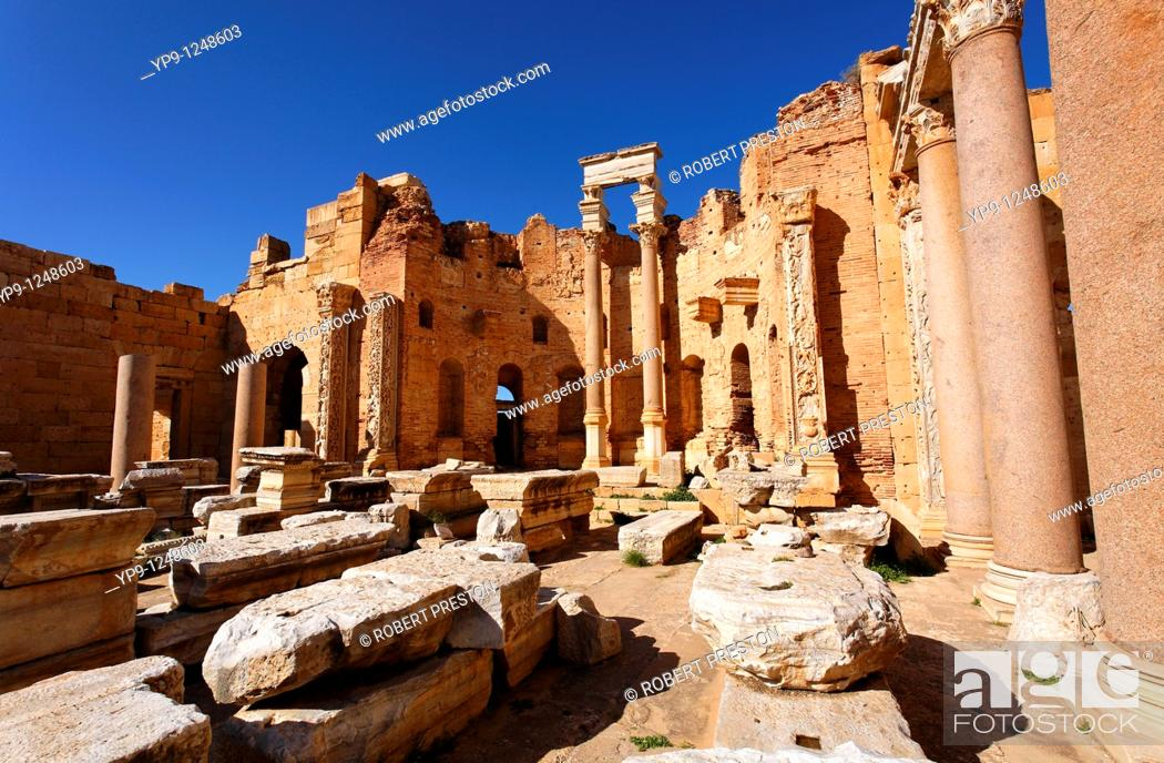 Stock Photo: The Basilica of Severus, Leptis Magna, Libya.