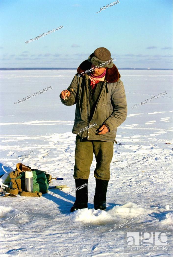 Stock Photo: Russia - Finland Bay - Fisherman.