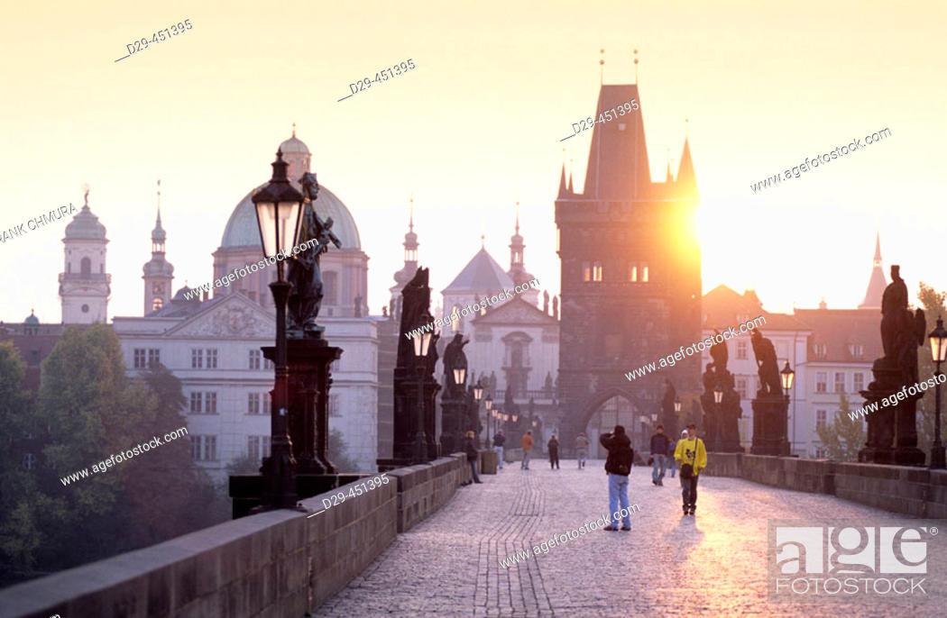 Stock Photo: Spires of the old town, Charles Bridge, Prague, Czech Republic.