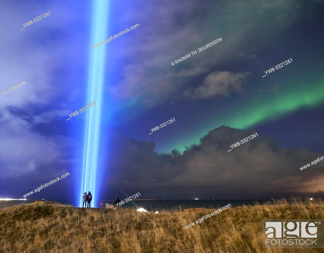 Stock Photo: Imagine Peace Tower, Videy Island, Reykjavik, Iceland.