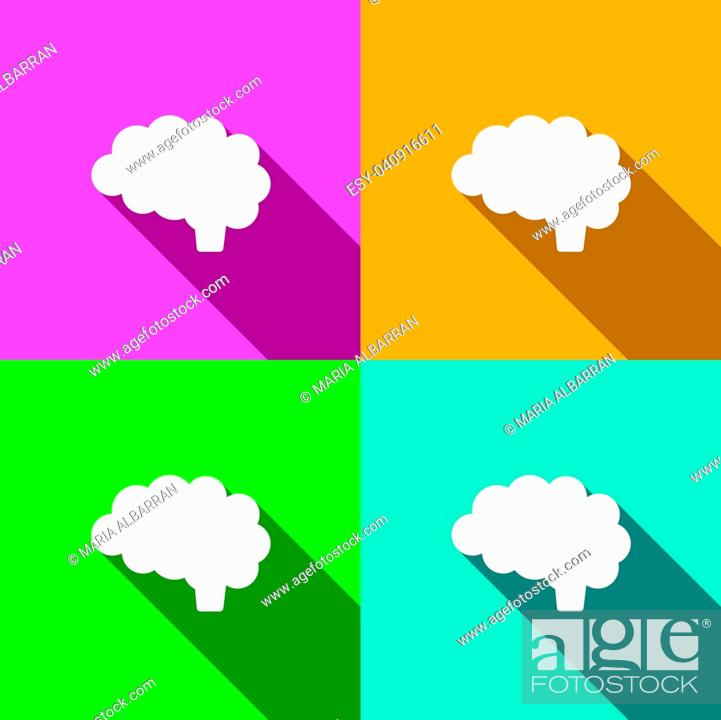 Vector: Brain icon with shade on different colors illustration.