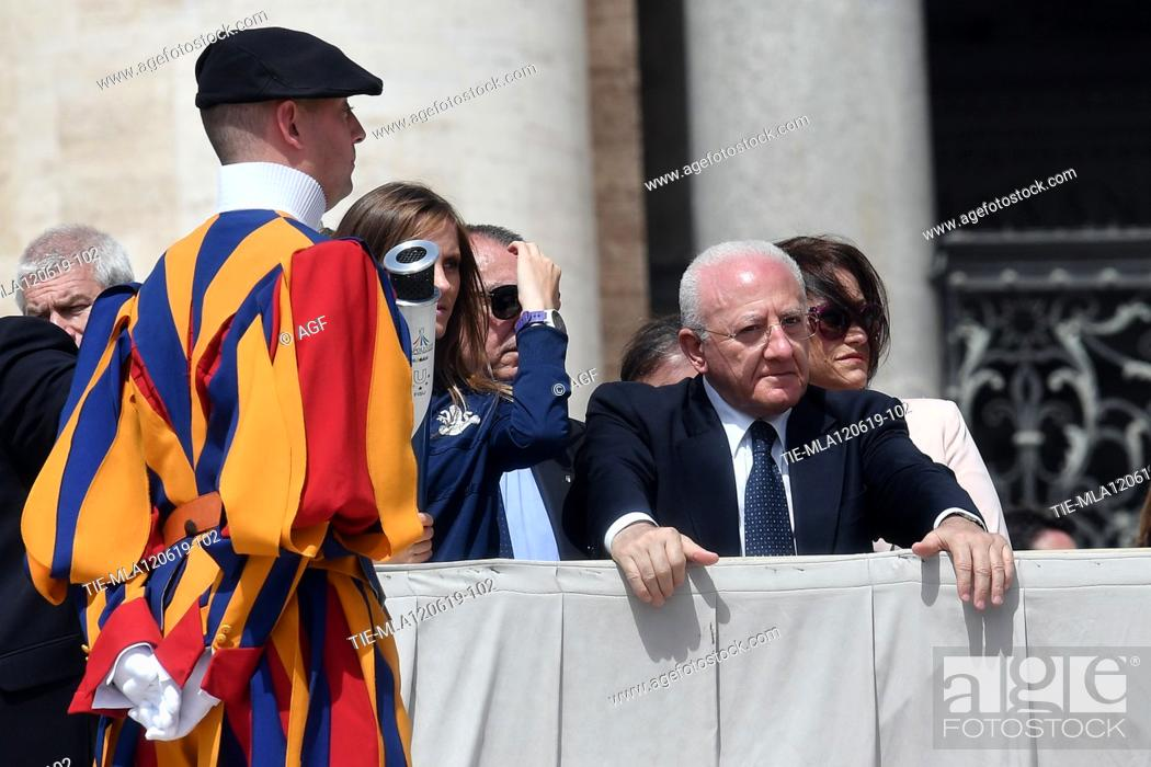 Stock Photo: Vincenzo De Luca governor of the Campania Region during weekly general audience, Vatican City, Italy - 12 Jun 2019.