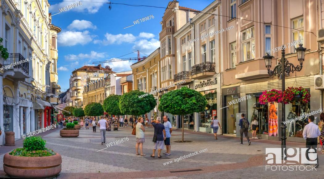 Stock Photo: Plovdiv, Bulgaria - 07. 24. 2019. Knyaz Alexamder Street in Plovdiv, Bulgaria, the main street on a sunny summer day.