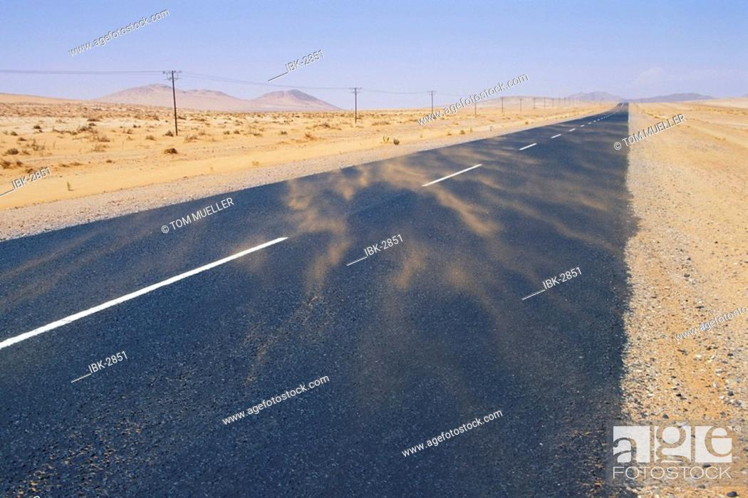 Stock Photo: Road in sandstorm Namibia.