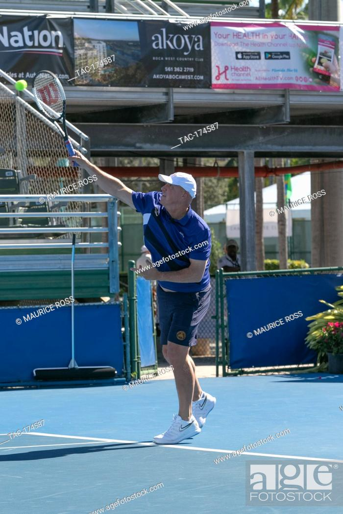 Stock Photo: Luke Jensen playing in the Chris Evert Pro-Celebrity Tennis Tournament November 23 2019 at the Delray Beach Tennis Center, Delray Beach Florida.
