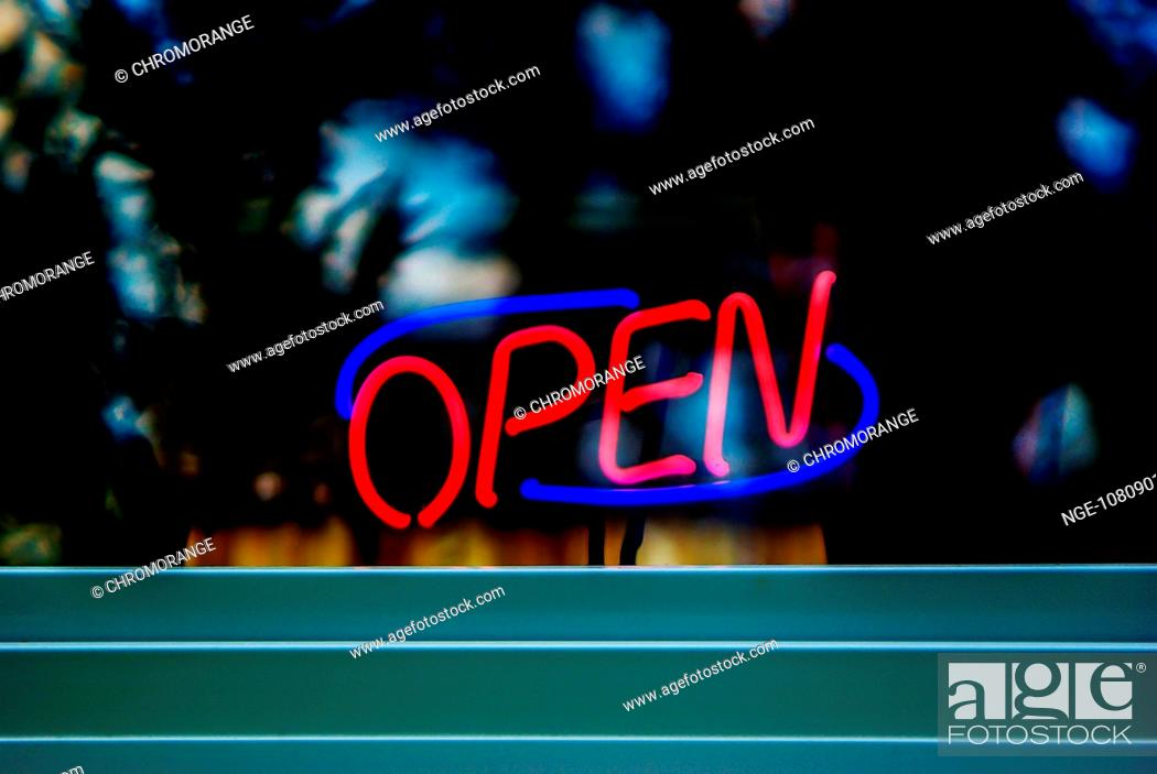 Neon light, opened, Stock Photo, Picture And Rights Managed Image. Pic. NGE-1080901213    agefotostock