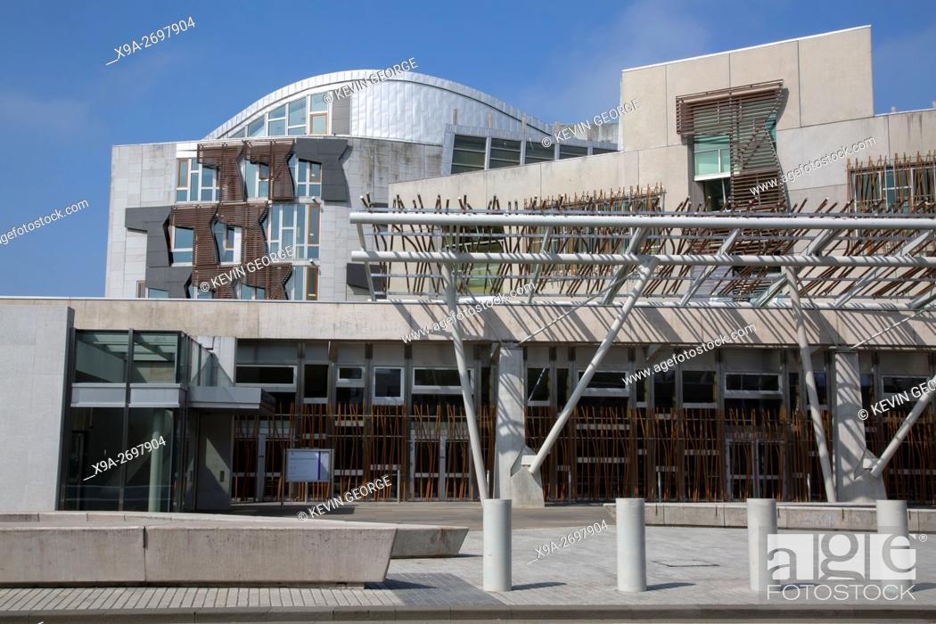 Stock Photo: Scottish Parliament at Holyrood; Edinburgh; Scotland.