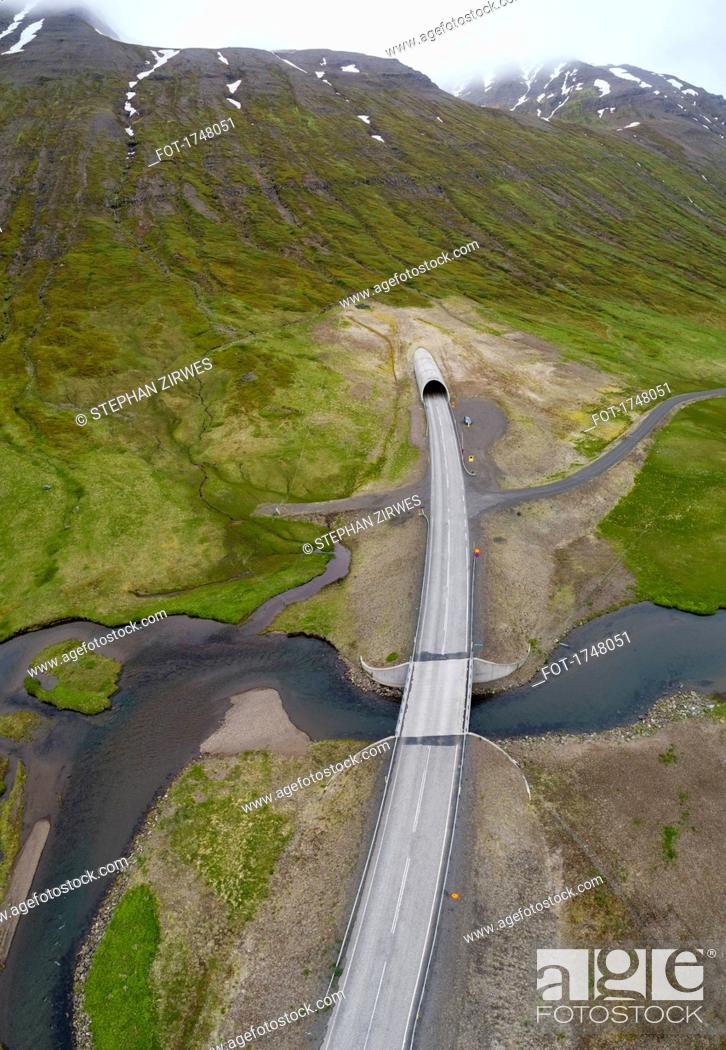 Stock Photo: Drone view of road over stream, Iceland.