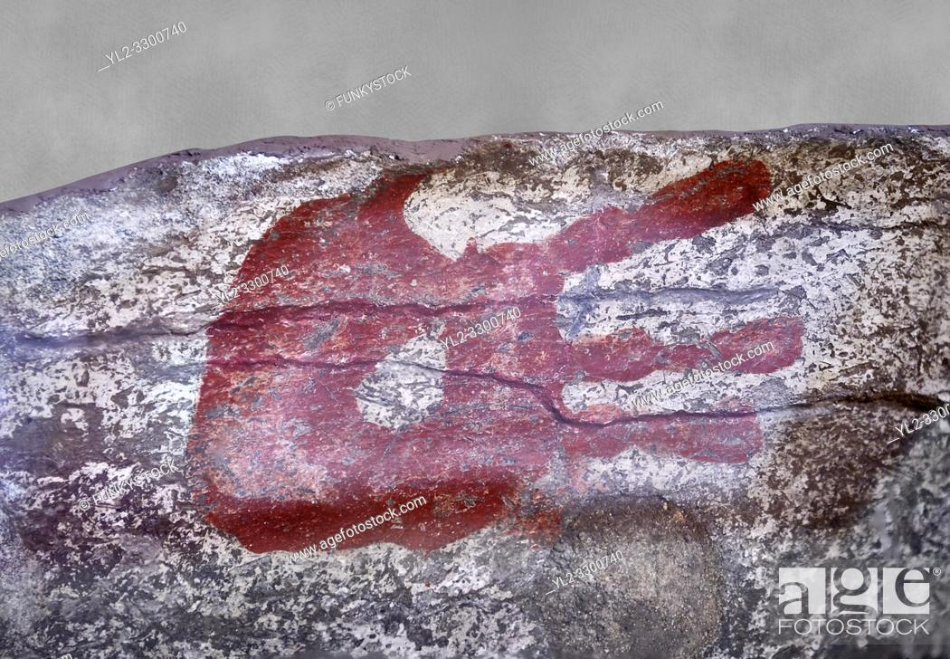 Stock Photo: Neolithic decorative hand print from the inside wall of a house. 7000 BC to 5000 BC . Catalhoyuk collection, Konya Archaeological Museum, Turkey.