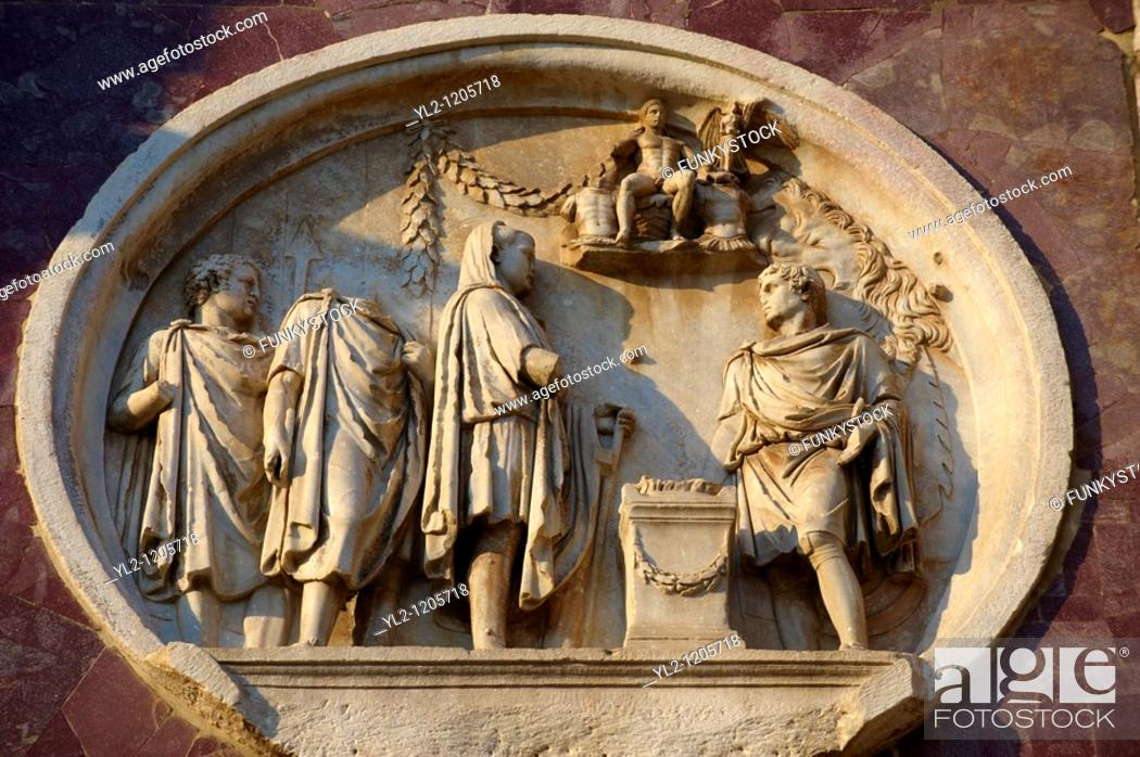 Stock Photo: Roman sculptural decorations on The Arch Of Constantine built to celebrate victory over Maxentius  Rome  Rome.