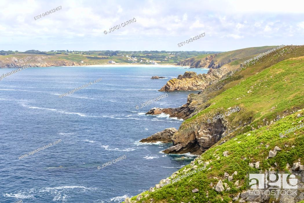 Stock Photo: Cliffs of the coast of Cape Raz in French Brittany.