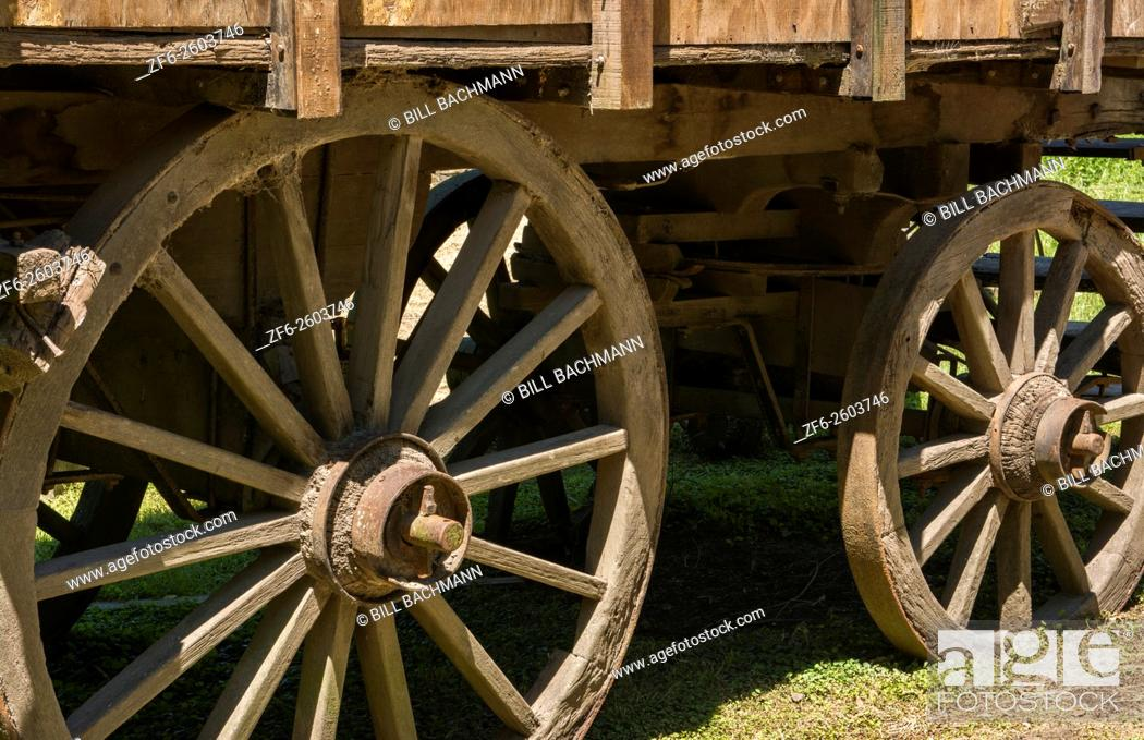 Stock Photo: Buenos Aires Argentina Gaucho cowboy ranch for tourists outside city called Don Silvano Ranch with old wood cart with closeup wheels.