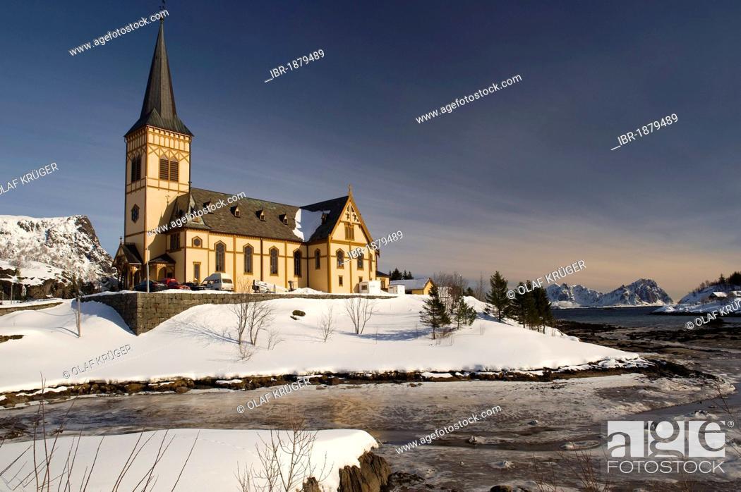 Stock Photo: Church of Svolvær or Svolvaer, Lofoten Islands, Northern Norway, Norway, Europe.