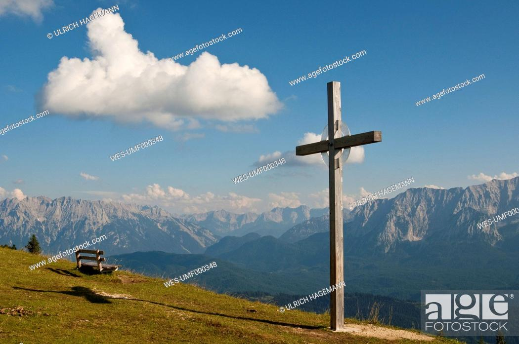Stock Photo: Germany, Bavaria, Garmisch-Partenkirchen, View from wank to wetterstein and karwendel.