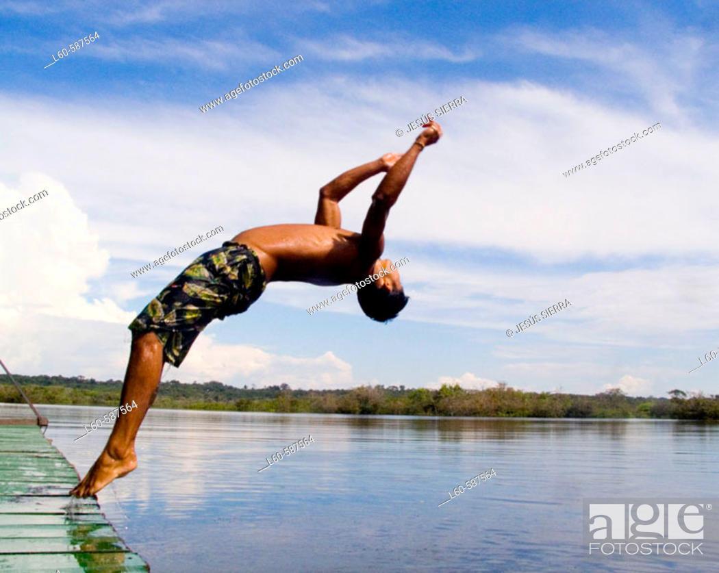 Stock Photo: Diving. Rio Negro, Amazonas. Brazil.