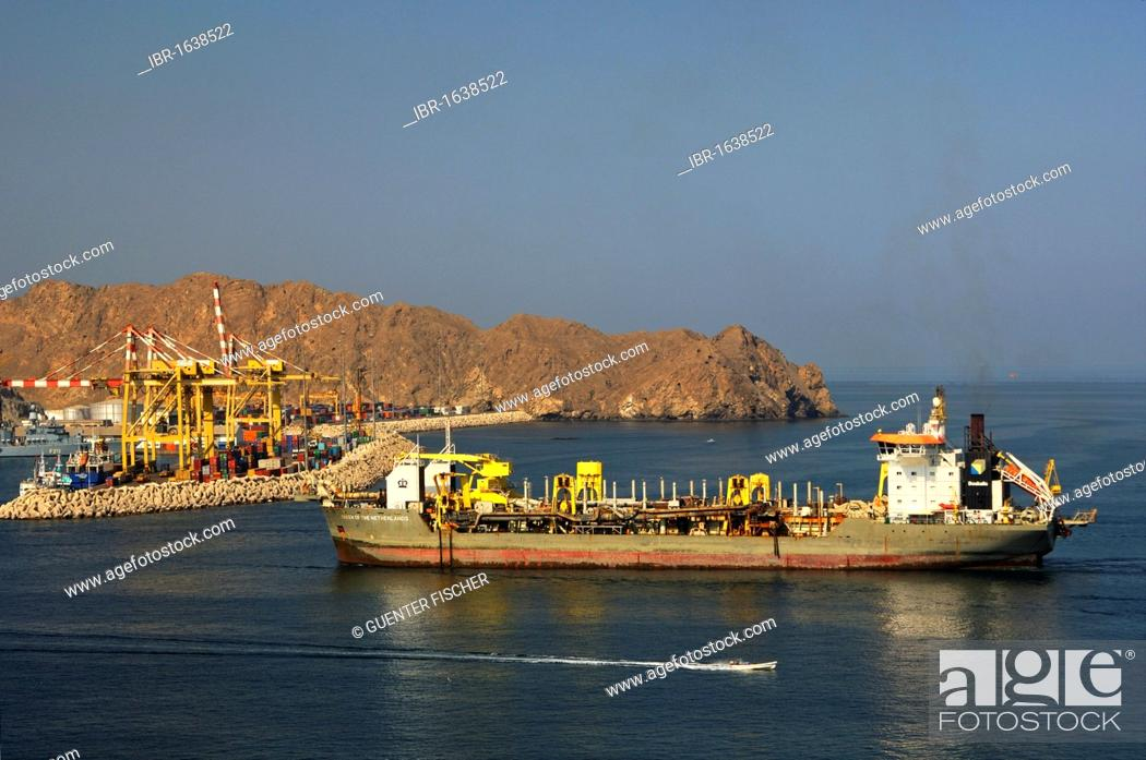 Stock Photo: Queen of the Netherlands dredger entering Port Sultan Qaboos, Muscat, Sultanate of Oman, Middle East.