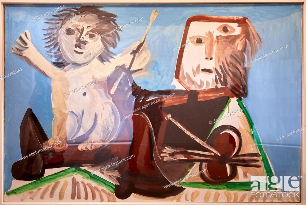"""Stock Photo: """"Le Peintre et l'enfant"""", 1969, Pablo Picasso, Picasso Museum, Paris, France, Europe."""