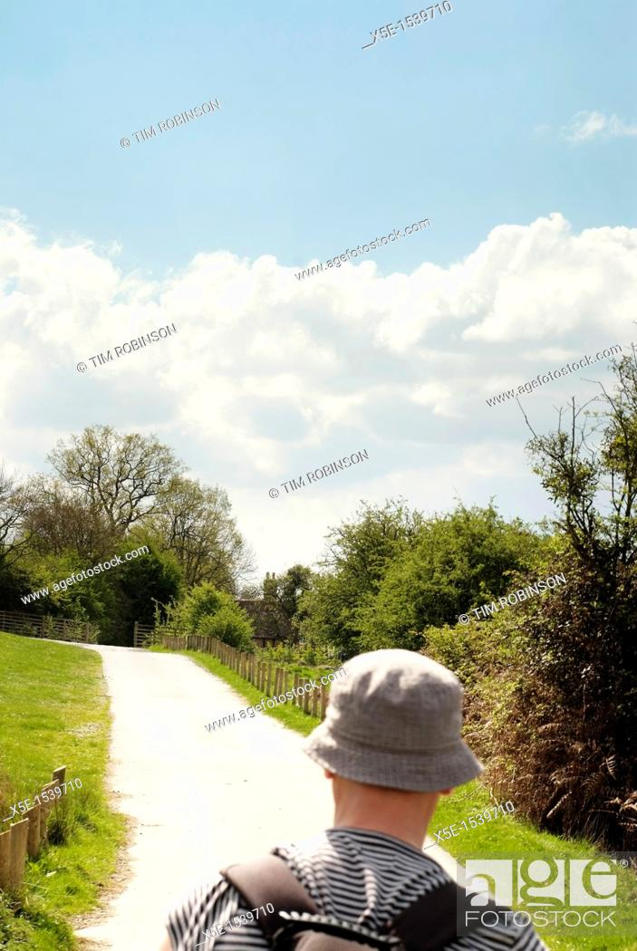 Stock Photo: Rearview head and shoulders adult male walking down country lane.