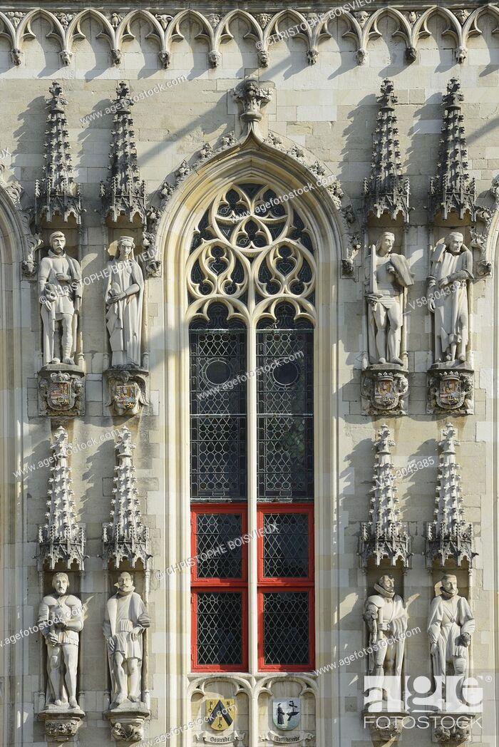 Stock Photo: Belgium, Bruges, World Heritage Site, Burg square, The City Hall (14th C).