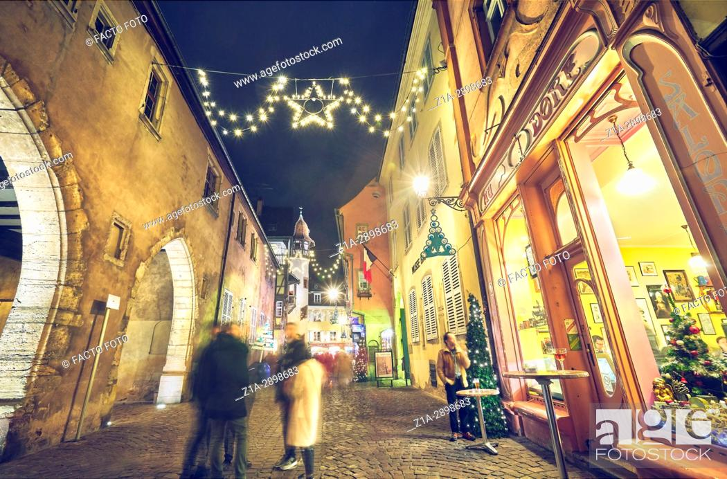 Stock Photo: Christmast decoration at the city center. Colmar. Haut-Rhin. Alsace. France.