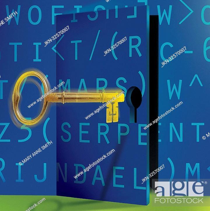 Stock Photo: Golden key opening encrypted door.