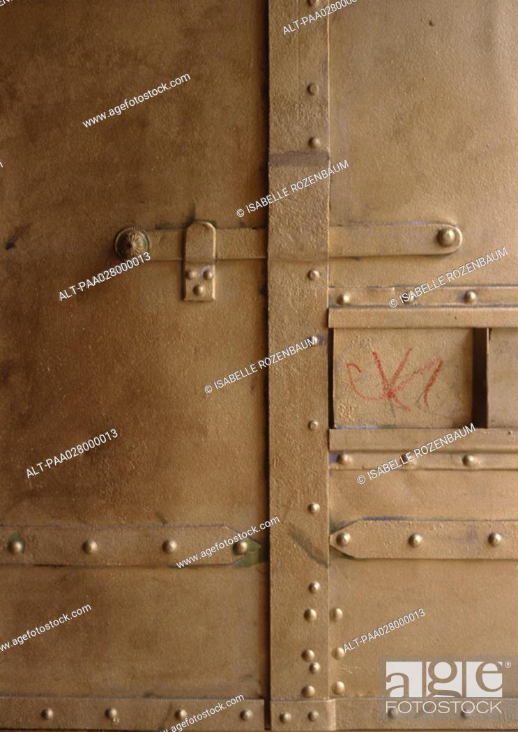 Stock Photo: Metal door.