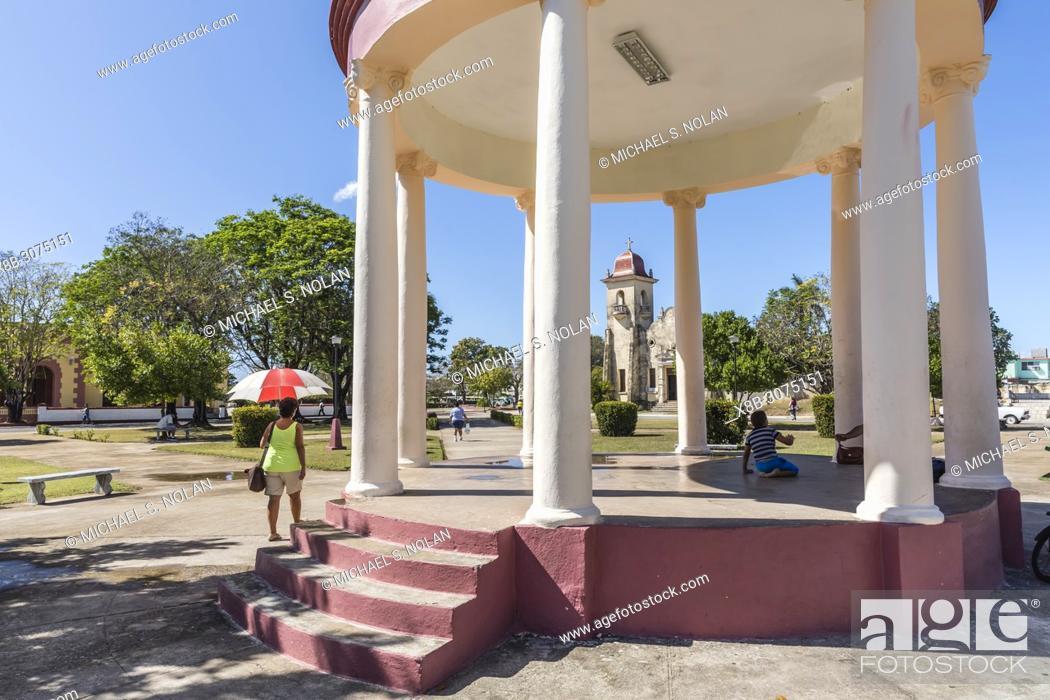 Stock Photo: View of the Catholic Church across the town square in Nueva Gerona on Isla de la Juventud, Cuba.