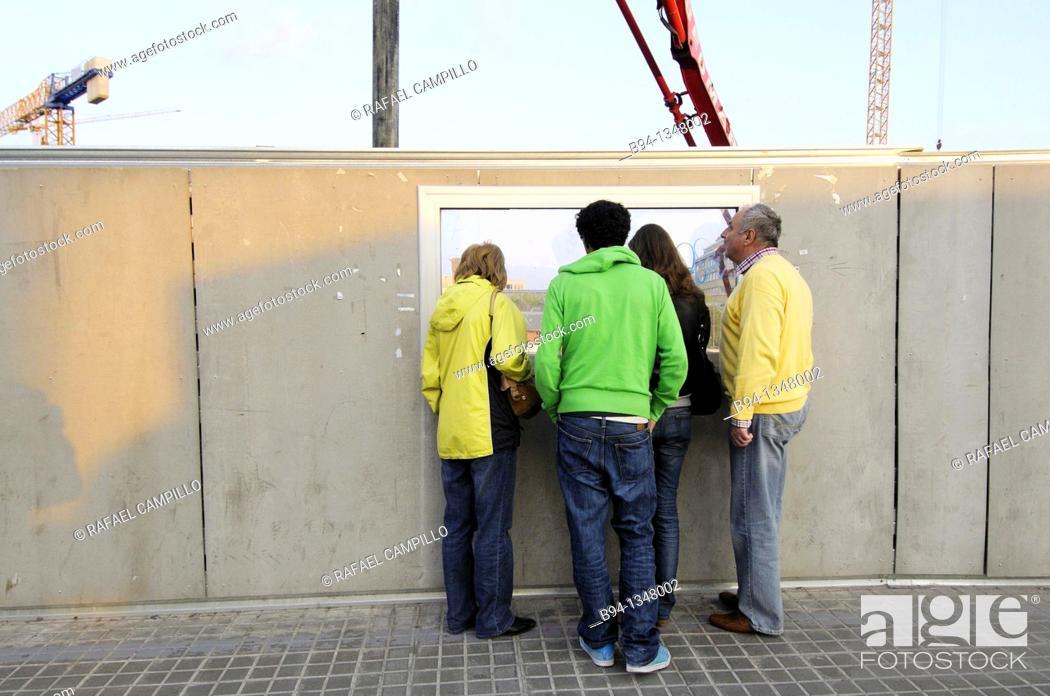 Stock Photo: Looking a construction sites. Plaça de les Glories. Barcelona. Catalonia. Spain.