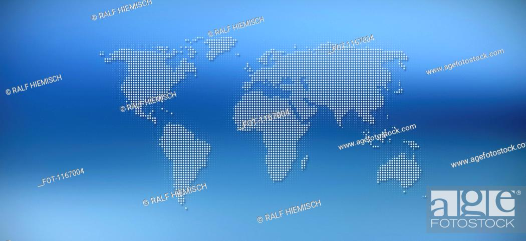 Stock Photo: World map in dots against a blue background.